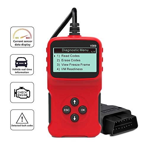 OBD2 Diagnosegerät Scanner Universal Auto Diagnosegerät Fehler Code-Leser Adapter V309 für Alle OBDII Protokoll, Check Engine Licht, I/M Bereitschaft Smog Check, HD LCD Display