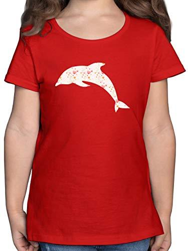 Tiermotive Kind - Delfin Herzen - 104 (3/4 Jahre) - Rot - Delfin t-Shirt mädchen - F131K - Mädchen Kinder T-Shirt