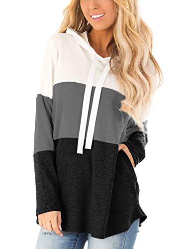 Lantch Damen Hoodies Farbblock Sweatshirt Gestreifte Pullover Casual Kapuzenpullover Langarm Shirts Kordelzug Oberteil mit Taschen(Schwarz,XL)