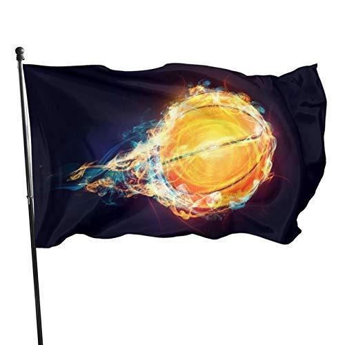 Bandera al aire libre de 3 x 5 pies 3d de velocidad de baloncesto con llamas a prueba de sol resistente a la decoloración para el hogar jardín banderas decorativas con ojales para desfiles patios