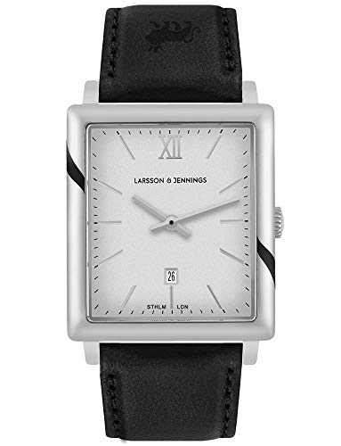 Larsson & Jennings LJXII Norse Unisex Hombres & Mujer Relojes with 40mm Satin White dial and Black Leather Strap NX40-LBK-SW.