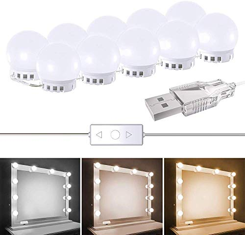 Iadong LED Spiegelleuchte, Hollywood Stil 10 Schminktisch Beleuchtung mit 2 Licht Modus und 5 Dimmbare Helligkeiten, Verstellbare Länge, für Kosmetikspiegel/Schminktisch/Badzimmer Spiegel