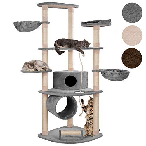 Happypet® Kratzbaum Grosse Katzen stabil 186 cm Maine Coon (CAT030-4), XXL Katzenbaum, Säulen mit Natur-Sisal ca. 8 cm, Haus, Höhle, Tunnel, große Liegemulden, Spieltau-Seil, Spiel-Kratzrolle, GRAU