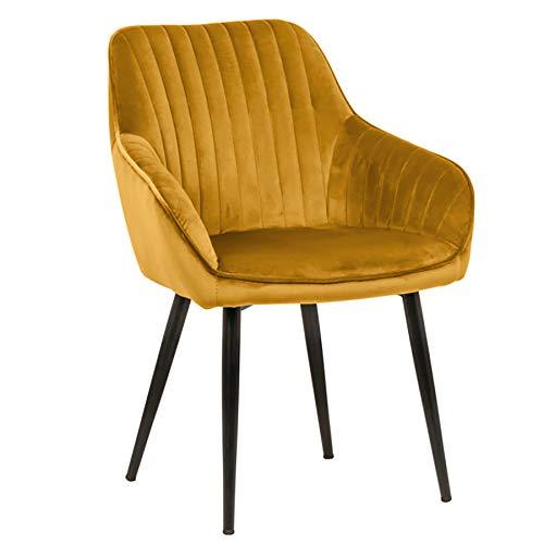 Invicta Interior Edler Design Stuhl Turin Samt senfgelb mit Armlehne Esszimmerstuhl Konferenzstuhl