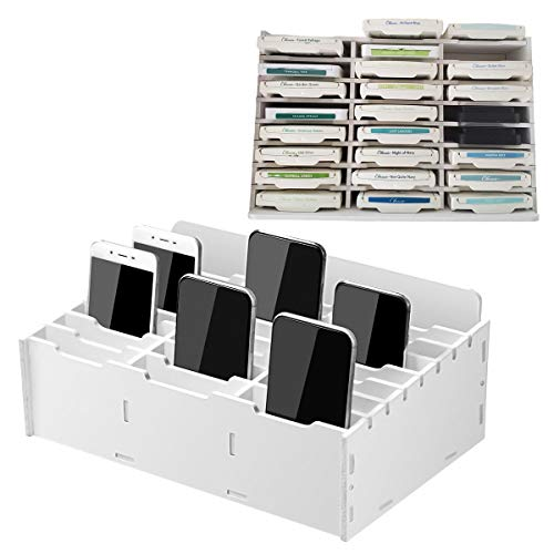 Sanfurney 24 Slots Cell Phone Storage Box for Classroom Calculator Holder Class Cell Phone Organizer White