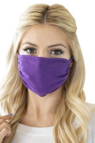 Reusable Fabric Face Mask Unisex Washable Covering - Cute Print Cloth Comfy Breathable Adjustable Outdoor Mouth Shield Protection Men Women (Round/Ear Loop - Solid Purple)