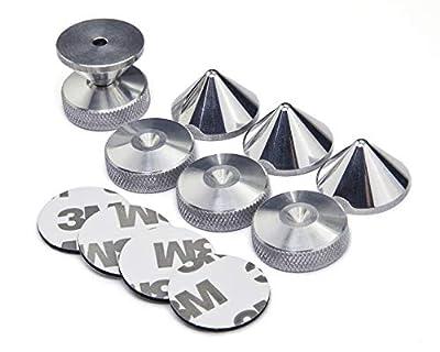 PrecisionGeek - SET - Aluminium 4x Cone Spikes + 4x Knurled Finish Pads+ 4x Adhesive Pads from Maad Precision Engineering Ltd