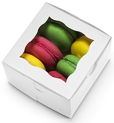 "[50Pack] Bakery Boxes with Window 4x4x2.5"" Cute Pastry Containers for Cupcakes, Wedding Cake/Treat/Party Favors, Donuts, Desserts, Cookies (White)"