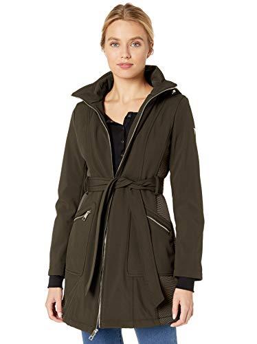 Guess Damen Belted Softshell Coat with Hood Übergangsjacke, olivgrün, X-Groß