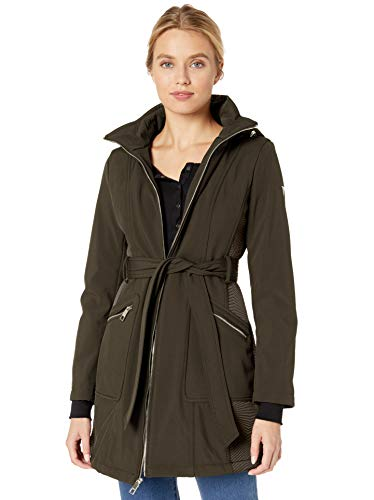 Guess Damen Belted Softshell Coat with Hood Übergangsjacke, olivgrün, X-Groß