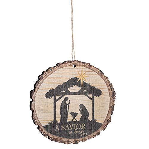 P. Graham Dunn A Savior is Born Nativity Scene Wood Tree Bark 4 inch Christmas Tree Ornament
