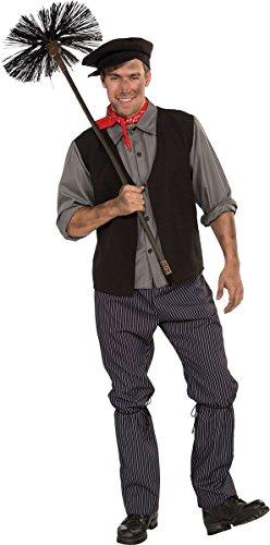Bristol Novelties Erwachsene Weihnachtsparty Bert Mary Poppins Schornsteinfeger Herren komplettes Outfit grau