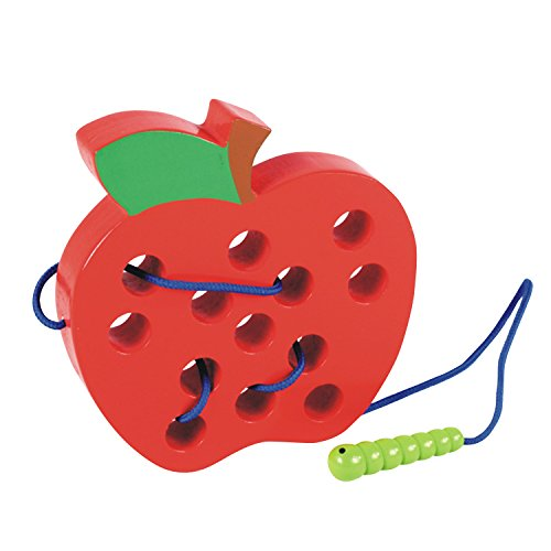Lewo Wooden Lacing Big Apple Toy Threading Montessori Learning Early Development Baby Toy Puzzles Travel Game Educational Toys for Toddlers Kids (Apple)