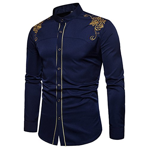Hombres de Manga Larga Floral Ambroidered Western Style Leisure and Fashion Button Down Camisa
