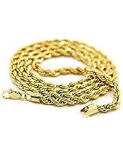 LEORX Chicos Moda Hombres Giratorio Estilo 24K Oro Plateado Collar (De Oro)