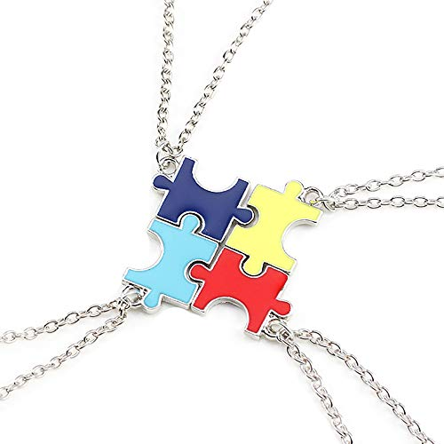 Reliablee Jigsaw Puzzle Pendant BFF Best Friend Forever Necklaces for 4 Girls Boys. Friendship Accessories Gifts.