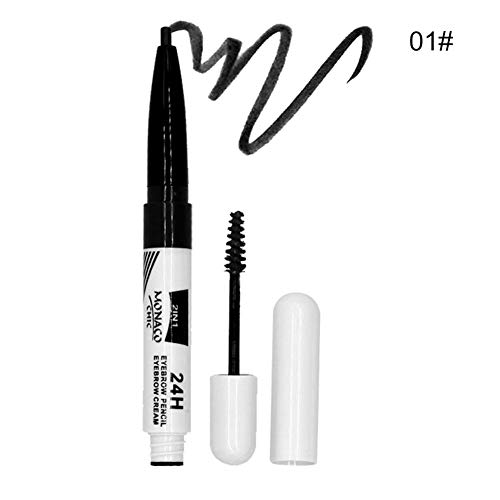 NITRQ 2 In 1 Waterproof Sweat-proof Professional Makeup Long Lasting Eyebrow Pencil&Eyebrow Cream Makeup(01)