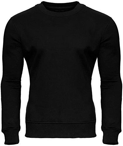 MERISH Herren Pullover Sweatshirt Rundhals Langarmshirt Modell 220 Schwarz XL