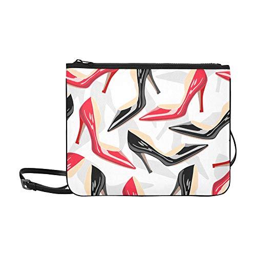 WYYWCY Schöne Bögen und High Heels Pattern Benutzerdefinierte hochwertige Nylon Slim Clutch Crossbody Tasche Umhängetasche
