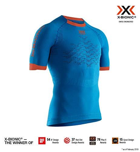X-Bionic Herren The Trick 4.0 Run, Short Sleeve Shirt, Teal Blue/kurkuma orange, L