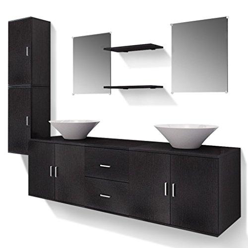 Festnight 9-TLG. Badezimmermoebel-Set Badmoebel Set inkl. Waschbeckenschrank, Wandschrank, Spiegel, Regal und Waschbecken Schwarz
