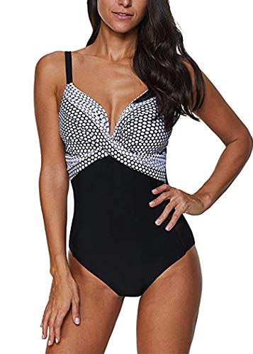 AOQUSSQOA Damen Badeanzug Einteilege Leopardenmuster Bademode Figurformend Bauchweg Bikini Große Größe Strandmode (L, 3)