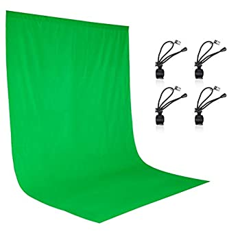 EMART 6 x 9 ft Photography Backdrop Background Green Chromakey Muslin Background Screen for Photo Video Studio 4 x Backdrop Clip