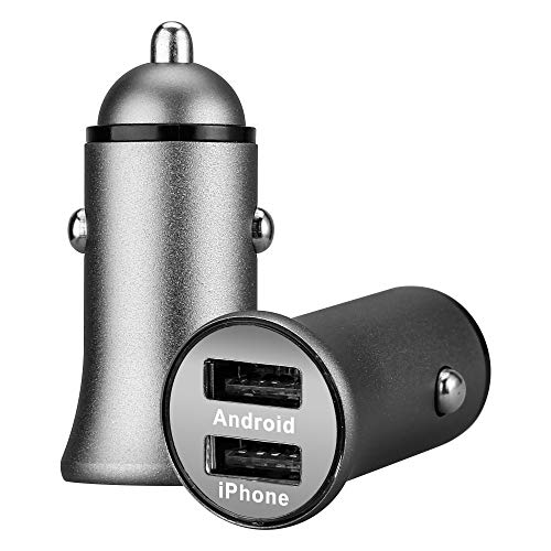 Shot Case Doble Adaptador de Metal para Encendedor de Cigarrillos USB para Smartphone Xiaomi Redmi Note 7 Enchufe Doble 2 Puertos Coche Cargador Universal