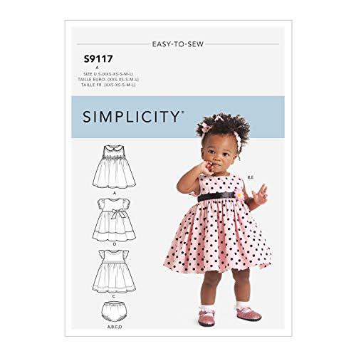 Simplicity SS9117A Schnittmuster S9117 Babykleider, Höschen und Haarband, verschieden, A (XXS-XS-S-M-L)
