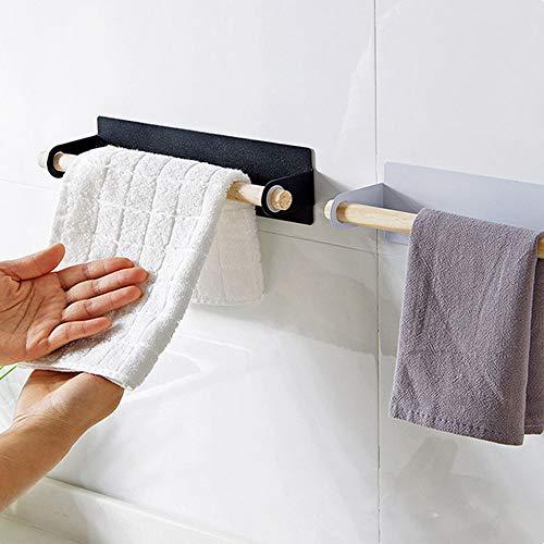 Wankd Handdoekstang, hout, handdoekhouder, baddoekstang, zonder boren, handdoekhouder van metaal, voor badkamer, badkamer, keuken, eenvoudige montage (zonder handdoeken 26*6cm zwart
