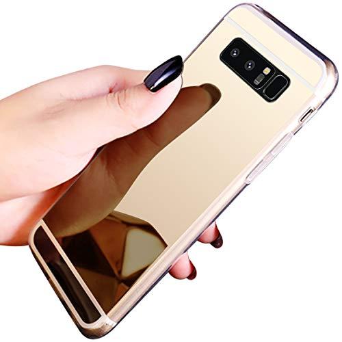 JAWSEU Compatible avec Samsung Galaxy Note 8 Coque Miroir Silicone,Cristal Brillant Bling Glitter Miroir Housse de Protection Slim Souple Gel Paillettes Strass Case Femme Fille,Or