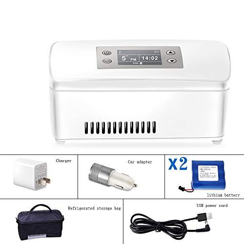 Xyanzi Mini-Kühlschränke Insulin-Kühler, Reisetasche Flasche, Die Den Insulin-Reisekoffer for Den Kleinen Kühlschrank Schützt Hält Diabetesmedikamente Kühl und Isoliert (Color : 2 Lithium Battery)