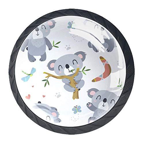 Cartoon Waschbär 4er Set Möbelknöpfe Kinderzimmer Schrankknöpfe Kinderzimmer Kinder Möbelknopf 3.5x2.8cm