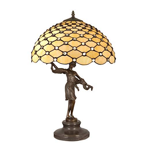 World Art TW60502 Lampes Style Tiffany Lampe de table sculpture avec pierres, 62x41x41 Cm