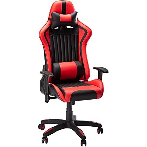 SLYPNOS Gaming Stuhl Racing Stuhl ergonomischer Bürostuhl Gaming schreibtischstuhl drehstühle PU-Lede mit Abnehmbarem Nackenkissen einstellbaren Rücklehne Armlehnen für Haus Büro, Rot und Schwarz