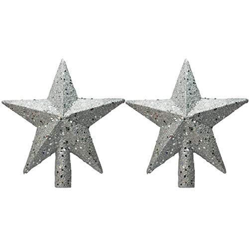 tyrrdtrd 2Pcs Christmas Star Tree Topper,Glitter Star Christmas Tree Topper for Party Ornament Petite Treasures Gold Glittered Holiday Decor Silver 15cm
