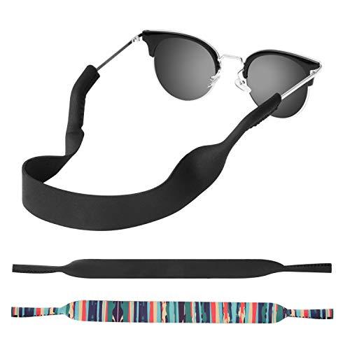 MoKo Neoprene Brillenband - [2 Stück] Universal Sonnenbrille Eyewear Strap Brillenkordel schwimmende Material Anti-Rutsch Schutzbrille Halter für Kinder, Männer, Frauen - Schwarz & Blau Streifen