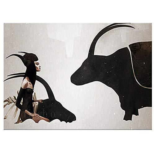 Caryilers Volle quadratische Diamantmalerei Hexen- und Stierbilder für Stickerei runde Diamantmosaikmalereien Tierwandaufkleberdekor
