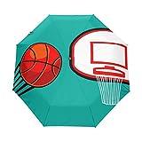 DEZIRO Paraguas de baloncesto de tres pliegues al aire libre, abierto, resistente al viento y al agua