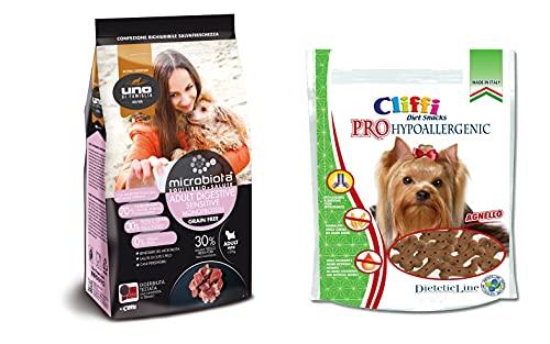 Cliffi Crocchette per cani Uno di Famiglia Sensitive Mini 2 Kg + Snack PRO Hypoallergenic Agnello 100 g