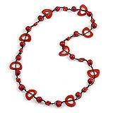 Collar de cordón de algodón con cuentas redondas y ovaladas, color rojo cereza y ladrillo, 84 cm de largo