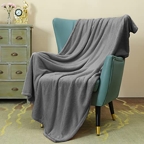 OhGeni Soft Grey Fleece Throw Blanket for Couch Sofa Bed, Knit Small Warm Cozy Flannel Dog Thin Blankets, Lightweight Plush Comfy Microfiber Blanket, 50x60 Inches, Gray