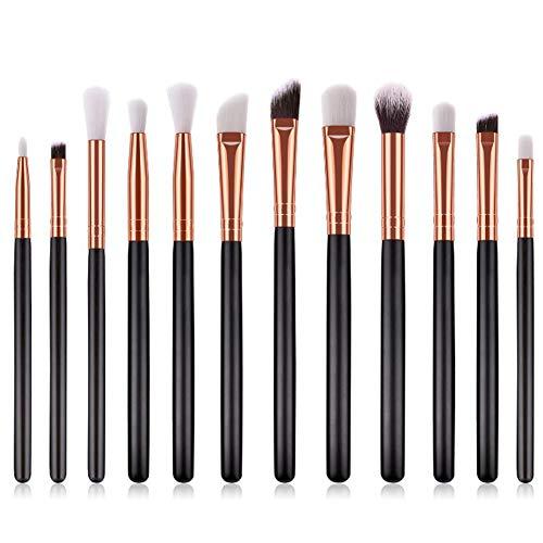 Eyeshadow Brush Set,12 Pieces Professional Travel Pro Precision Vegan Flat Tapered Smokey Showdow Makeup Blending Eye Shadow Brushes Sets