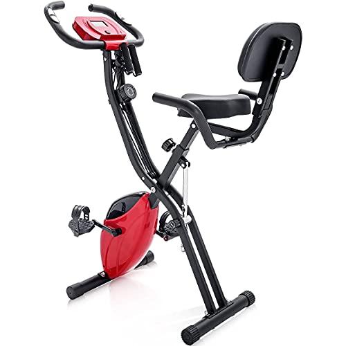 Bicicleta estática magnética plegable para entrenamiento cardiovascular interior con computadora de entrenamiento y correas de extensión