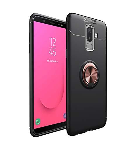 Compatible con Samsung Galaxy J8 2018, funda ligera y suave, de silicona TPU, con anillo de soporte, magnético, soporte para teléfono móvil, resistente a los golpes Oro rosa negro. Talla única