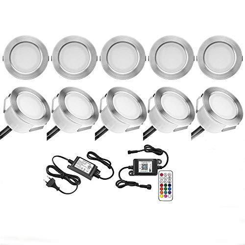 Lot de 10 luminaires encastrés au sol Compatible avec Alexa, spots LED encastrés RGB DC12V Ø45mm IP67 Étanche LED au sol WiFi Téléphone intelligent sans fil