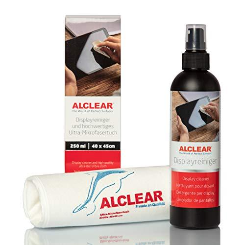 ALCLEAR 721DR Displayreiniger 250 ml und fusselfreies Ultra-Mikrofasertuch, reinigt TV, LCD/TFT, Plasma, Smartphone ohne Schlieren