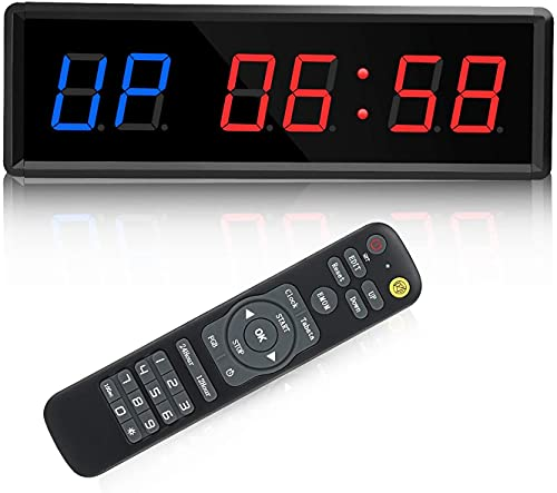 """Timer della palestra, timer a intervallo a LED Timer digitale Countdown Orologio da parete Timer di fitness, 1,5 """"Cifre down / up clock cronometro"""
