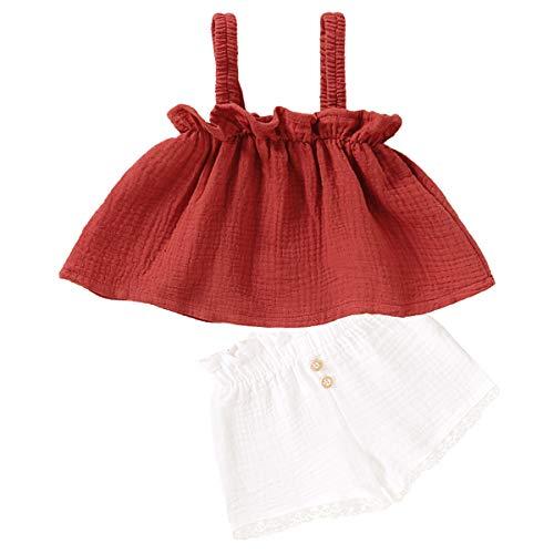 Tianhaik Säuglingsbaby Rüschen Spaghettiträger Tops Elastische Taille Shorts Baumwolle Leinen Outfits