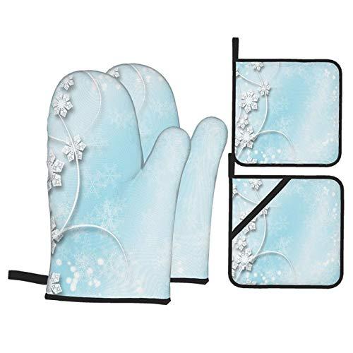 Juego de 4 Guantes y Porta ollas para Horno Resistentes al Calor Fondo de Copo de Nieve para Hornear en la Cocina,microondas,Barbacoa